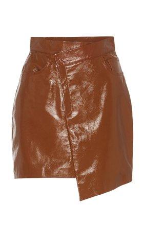 Asymmetric Patent Leather Mini Skirt by Zeynep Arçay | Moda Operandi