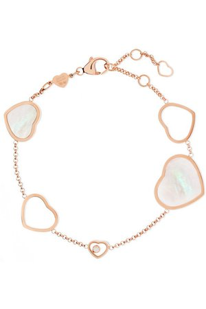 Chopard | Happy Hearts 18-karat rose gold, diamond and mother-of-pearl bracelet | NET-A-PORTER.COM