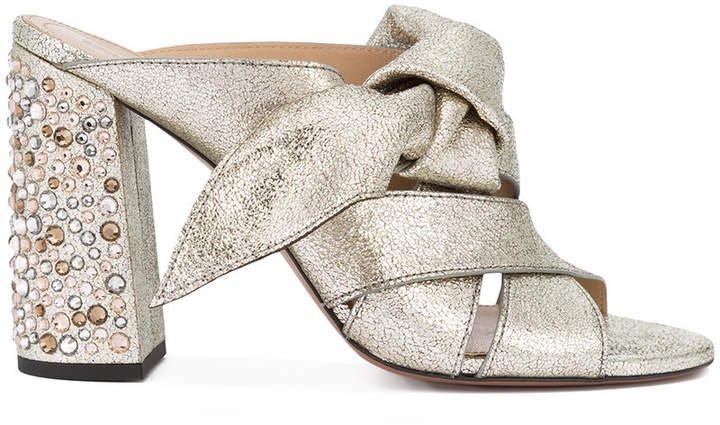 Nellie crystal heel mule sandals