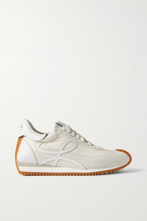 Flow Logo-appliqued Leather And Suede Sneakers - White