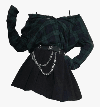 #ootd #outfit #grunge #plaid #green #png #aesthetic - Grunge Aesthetic Girl Outfits, Transparent Png , Transparent Png Image - PNGitem
