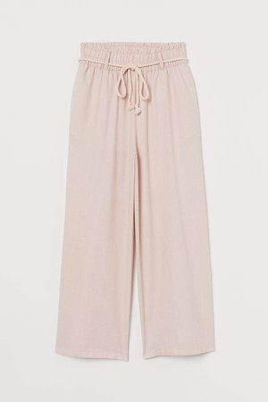 Cropped Paper-bag Pants - Pink