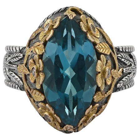 Emma Chapman Blue Topaz Diamond 18 Karat Yellow Gold Silver Cocktail Ring For Sale at 1stdibs
