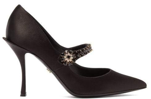 Crystal-embellished Mary-jane Satin Pumps - Womens - Black