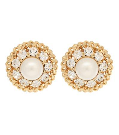 Orecchini A Clip Con Perle E Cristalli | Alessandra Rich - Mytheresa