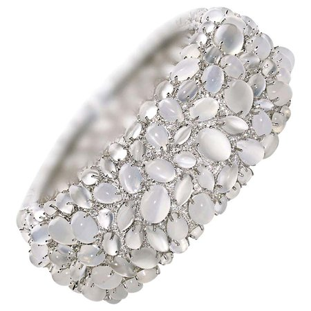 Moonstone and Diamond White Gold Bangle Bracelet For Sale at 1stDibs