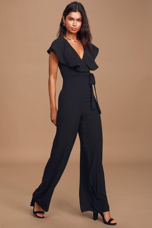 Chic Black Jumpsuit - Ruffled Jumpsuit - Faux-Wrap Jumpsuit