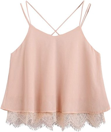 SheIn Women's Casual Strappy Lace Hem Criss Cross Back Cami Crop Top