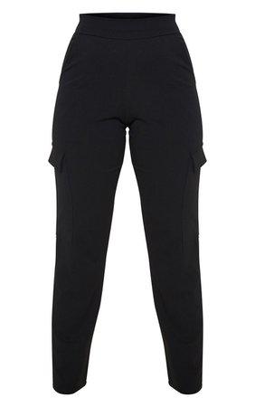 Petite Black Cargo Detail Crepe Trouser | PrettyLittleThing USA