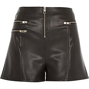 Black leather-look zip shorts