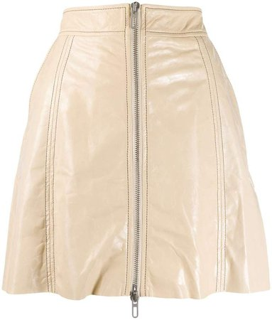 zipped leather a-line skirt