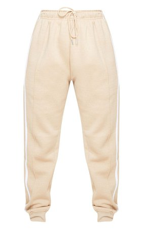 Petite Stone Double Side White Stripe Jogger - New In Today - New In | PrettyLittleThing USA