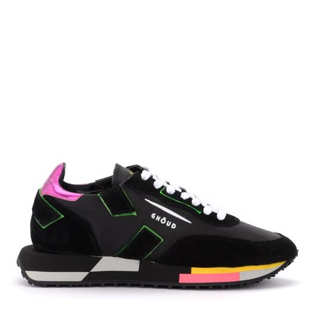Ghoud Rush Sneaker In Black Leather And Suede With Fluo Details