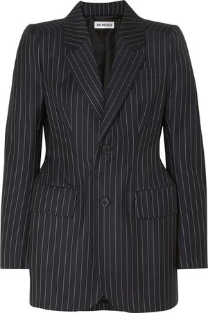 Balenciaga | Hourglass pinstriped wool and cashmere-blend blazer | NET-A-PORTER.COM