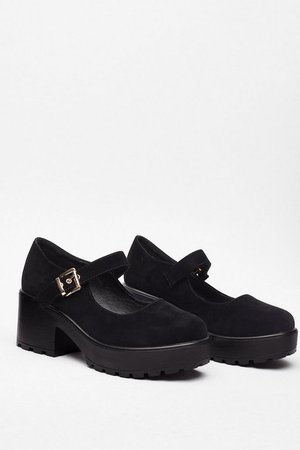 Faux Suede Chunky Mary Jane Shoes | Nasty Gal