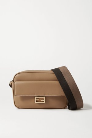 Tan Baguette canvas-trimmed leather shoulder bag | Fendi | NET-A-PORTER