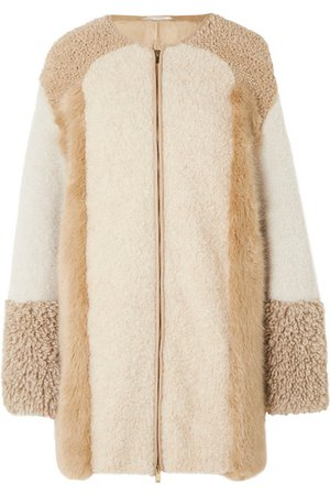 Stella McCartney | Oversized patchwork faux fur and faux shearling coat | NET-A-PORTER.COM