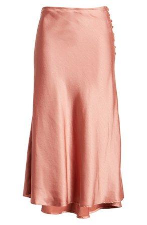 FRNCH Edmee Side Button Satin Slip Skirt | Nordstrom