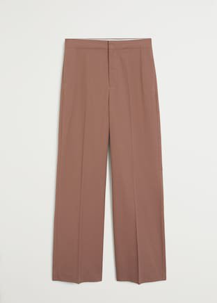 Cotton palazzo pants - Women   Mango USA brown