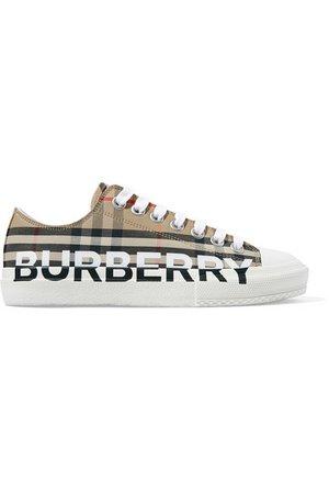 Burberry | Logo-print checked cotton-canvas sneakers | NET-A-PORTER.COM