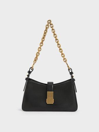 Black Chain Handle Shoulder Bag - CHARLES & KEITH SG