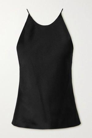Black Open-back satin camisole   Rosetta Getty   NET-A-PORTER