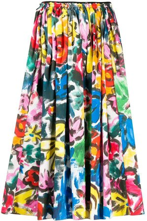 pleated brushstroke midi skirt