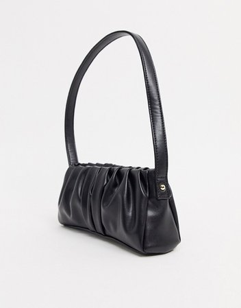 ASOS DESIGN ruched 90s shoulder bag in black | ASOS