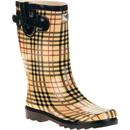 Forever Young - Forever Young Women's Plaid Short Shaft Rain Boots - Walmart.com yellow