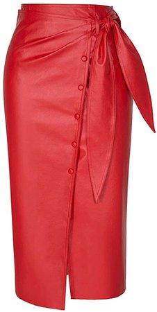 TOP-MAX High Waist Faux Leather Pencil Slit Midi Skirt