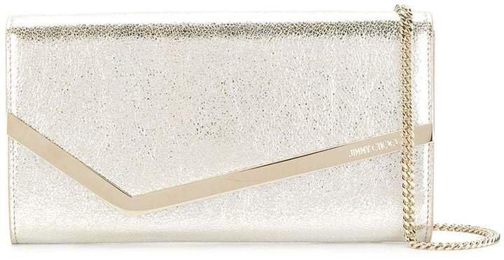 champagne Emmie leather clutch bag