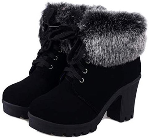 Dear Time Women Faux Fur Lace-up High Heels Ankle Boots | Ankle & Bootie