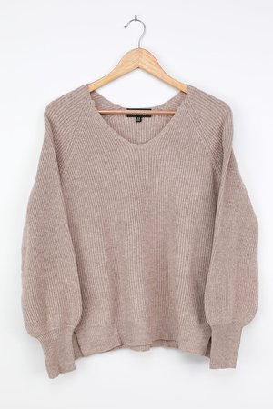 Taupe Sweater - Balloon Sleeve Sweater - V-Neck Sweater Top