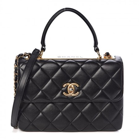 CHANEL Lambskin Quilted Small Trendy CC Dual Handle Flap Bag Black 479187