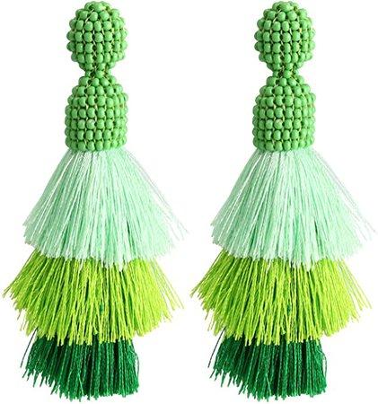 Amazon.com: Bohemian Beaded Tassel Earrings Tiered Layered Statement Fringe Drop Earring (Green): Jewelry