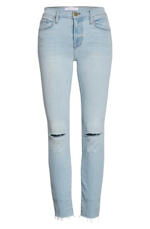 FRAME Le Skinny de Jeanne Ripped Crop Jeans (Pacifica) | Nordstrom