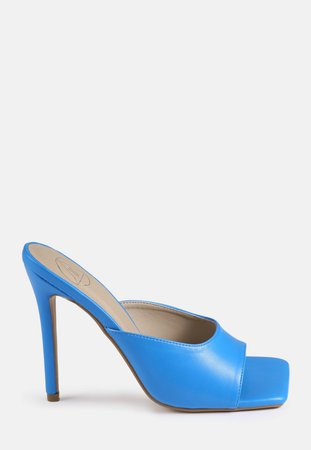 Blue Square Toe High Heeled Mules | Missguided