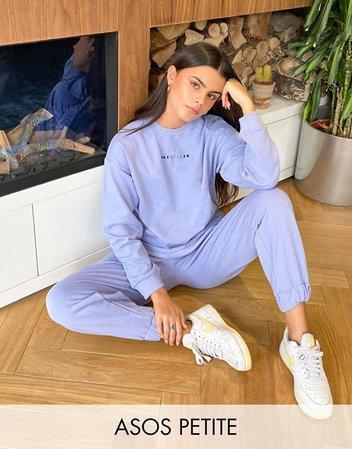 ASOS DESIGN Petite tracksuit oversized sweatshirt/oversized sweatpants with mini graphic in lilac   ASOS