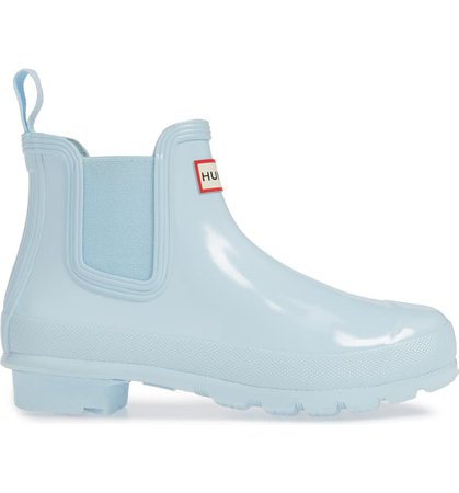 Hunter Original Gloss Waterproof Chelsea Boot Blue