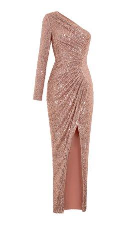 One Shoulder Draped Sequin Gown by Rasario   Moda Operandi