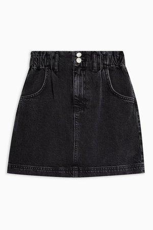 Washed Black Denim Paperbag Mini Skirt | Topshop