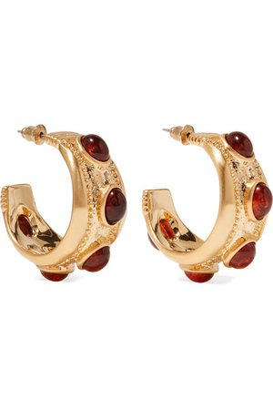 Kenneth Jay Lane | Gold-plated and tortoiseshell resin hoop earrings | NET-A-PORTER.COM