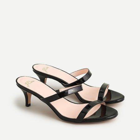 Kitten heel sandals in patent leather
