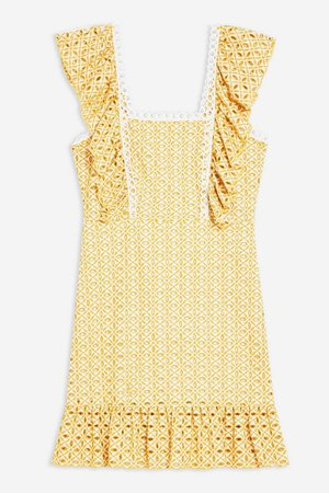 Yellow Broderie Mini Dress | Topshop yellow