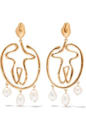 Chloé | Femininities gold-tone pearl clip earrings | NET-A-PORTER.COM