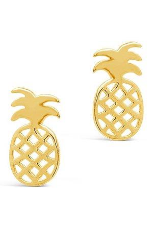 Sterling Forever   14K Yellow Gold Vermeil Pineapple Stud Earrings   Nordstrom Rack