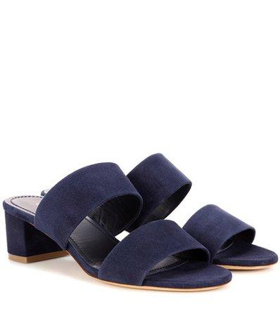 40mm Double Strap suede sandals
