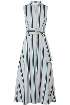 Diane von Furstenberg | Belted striped cotton midi dress | NET-A-PORTER.COM