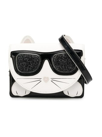 Shop white & black Karl Lagerfeld Kids Choupette shoulder bag with Express Delivery - Farfetch