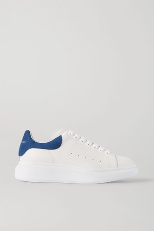 White Two-tone suede-trimmed leather exaggerated-sole sneakers | Alexander McQueen | NET-A-PORTER